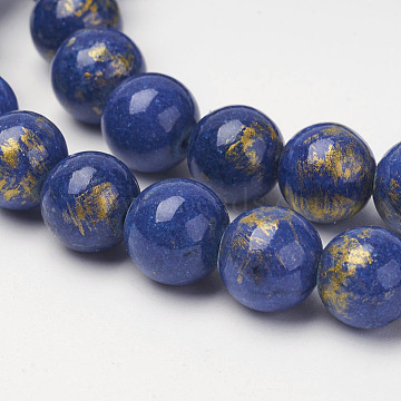 Natural Mashan Jade Beads Strands, with Gold Powder, Dyed, Round, Medium Blue, 8mm, Hole: 1mm, about 48pcs/strand, 16 inches(X-G-P232-01-G-8mm)