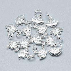 Breloques en 925 argent sterling, avec anneau de jonction, fleur, argenterie, 10x11x3mm, Trou: 4mm(STER-T002-117S)