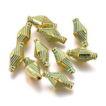 Alloy Beads, Rhombus, Lead Free & Cadmium Free, Golden & Green Patina, 13.5x7x6.5mm, Hole: 1mm(PALLOY-L222-059GGP-RS)