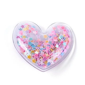 Plastic Alligator Hair Clips, with Paillette & Platinum Plated Iron Base, Heart, Colorful, 43x48x12~13mm(PHAR-L005-J07)