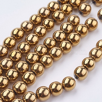 Non-Magnetic Synthetic Hematite Beads Strands, Color Plated, Grade A, Round, Goldenrod, 8mm, Hole: 1mm(X-G-S096-8mm-2)