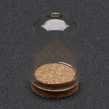 Glass Dome Cloche Cover, Bell Jar, with Cork Base, For Doll House Container, Dried Flower Display Decoration, Clear, 36.5x22mm(AJEW-P043-S)