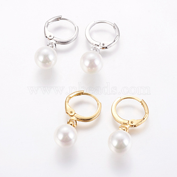 Brass Leverback Earrings, with Shell Pearl, Long-Lasting Plated, Mixed Color, 25mm; Pin: 0.8mm(EJEW-E196-03)