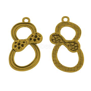 Bowknot Tibetan Style Pendant Rhinestone Settings, Cadmium Free & Lead Free, Antique Golden, 37.5x20x3.5mm, Hole: 2.5mm; Fit for 1.5mm rhinestone(TIBEP-A35326-AG-RS)