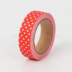 Polka dot tissu scrapbbok bricolage adhésif art bande, rouge, 15 mm; environ 5 m/rouleau(DIY-A003-C09)