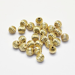 Long-Lasting Plated Brass Corrugated Beads, Real 18K Gold Plated, Nickel Free, Round, 5mm, Hole: 1mm(X-KK-K193-105G-NF)