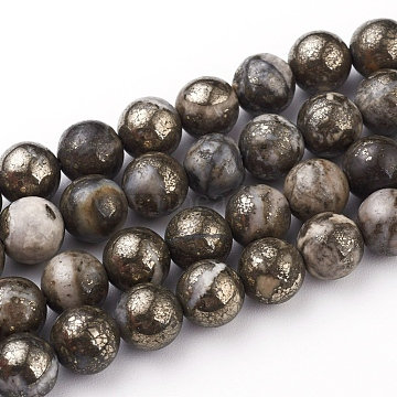 Natural Pyrite Beads Strands, Round, 8mm, Hole: 0.6mm; about 49pcs/strand, 15.75''(40cm)(G-G839-01-8mm)