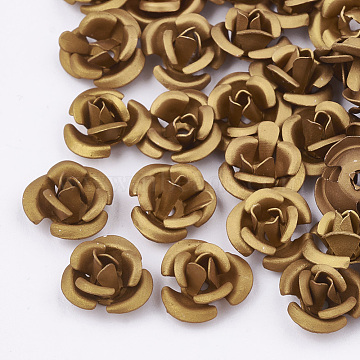 Aluminum Beads, Frosted, Long-Lasting Plated, 3-Petal Flower, Dark Goldenrod, 6x4.5mm, Hole: 0.8mm(FALUM-T001-02A-07)