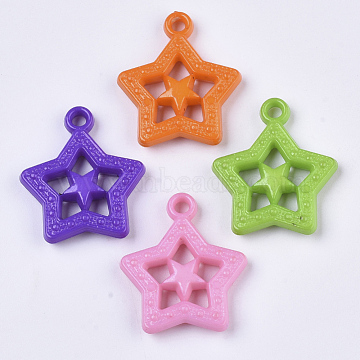 Opaque Acrylic Pendants, Star, Mixed Color, 28.5x24x5.5mm, Hole: 2.5mm(X-SACR-N008-068)