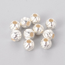 Sterling Silver Corrugated Spacer Beads, Round, Silver, 4x3.5mm, Hole: 1mm(X-STER-K171-42S-02)