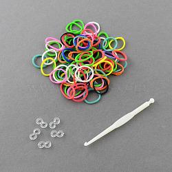 260 bandes / sac, meilleurs groupes de métiers à tisser en caoutchouc twistz bricolage recharges, colorées, 110x100x22mm(DIY-R001-01)