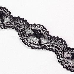 """Fil de nylon de garniture de dentelle pour la fabrication de bijoux, noir, 1-3/8"""" (34 mm); 2.5 mètres / sac (2.286 m / sac)(X-OCOR-I001-217)"""