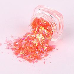 Flocons de coquille de couleur bonbon, manucure nail art décoration, paillettes pour ongles, orange rouge , 3x1.5 cm(MRMJ-L001-27K)
