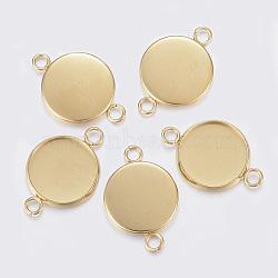 304 настройки разъема кабошона из нержавеющей стали, чашки безель с краем, плоские круглые, золотой, 31x22x2 mm, отверстия: 3 mm; лоток: 20 mm(X-STAS-F160-47G-08)