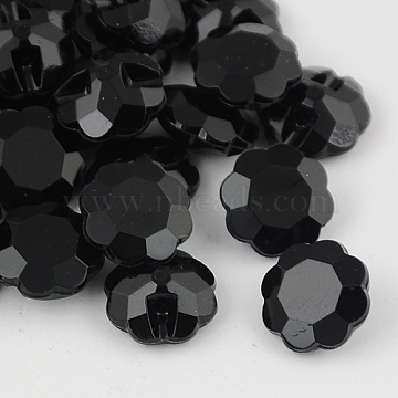 Taiwan Acrylic Rhinestone Buttons, Faceted, 1-Hole, Flower, Black, 18x7.5mm, Hole: 1mm(BUTT-F021-18mm-01)