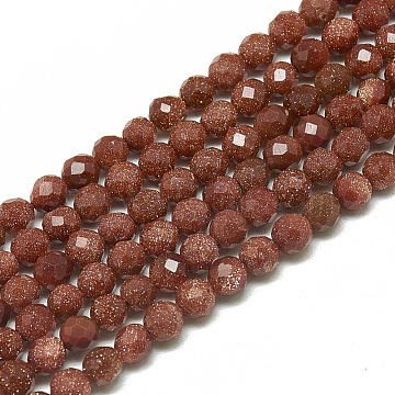 Synthetic Goldstone Beads Strands, Faceted, Round, 3~3.5mm, Hole: 0.3mm; about 113pcs/strand, 14.9inches(G-S300-08-3mm)