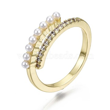 Brass Micro Pave Clear Cubic Zirconia Cuff Rings, Open Rings, with ABS Plastic Imitation Pearl, Nickel Free, Real 16K Gold Plated, US Size 6(16.5mm)(RJEW-S044-117-NF)