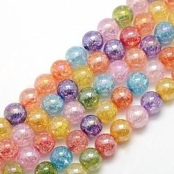 гальванических цвета AB гальваническим синтетический кварц хрустят круглые бусины пряди, окрашенная и подогревом, cmешанный цвет, 10 mm, отверстия: 1 mm; о 43 шт / прядь, 16.92(G-L155-10mm-07)