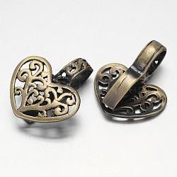 Laiton brossé bronze antique bélières pendentif, sans nickel  , coeur en filigrane, 25x20x9mm, Trou: 8x6mm(KK-E738-40AB-NF)