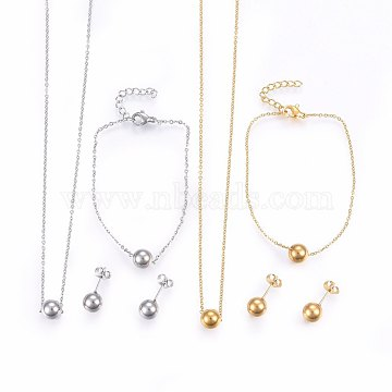 304 Stainless Steel Jewelry Sets, Pendant Necklaces & Stud Earrings & Bracelets, Ball, Mixed Color, 16.54 inches(42cm); 7-1/8 inches(18cm); 19x8mm; Pin: 0.8mm(SJEW-H138-28)