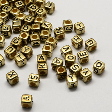 Antique Golden Plated Large Hole Acrylic European Beads, Horizontal Hole, Cube with Letter, Mixed, 6x6x6mm, Hole: 4mm(X-PACR-Q099-M02)