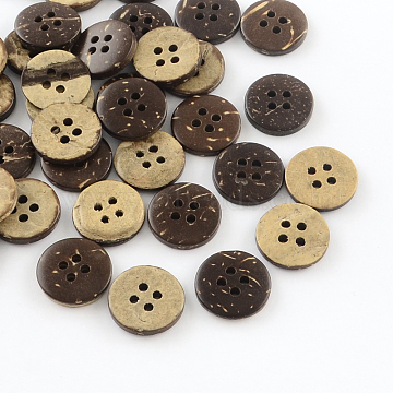 4-Hole Flat Round Coconut Buttons, Coconut Brown, 15x3mm, Hole: 2mm(X-BUTT-R035-009)