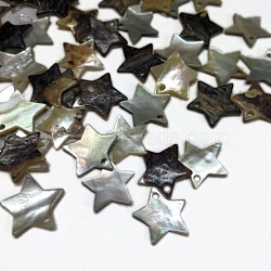 pendentifs coquille mer, étoiles, blanc, 13x13x2 mm, trou: 1 mm(X-SSHEL-I009-06)