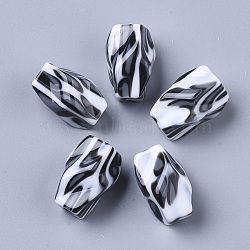 Resin Beads, for Jewelry Making, Nuggets with Leopard Print Pattern, Black & White, 22.5x8.5~15.5mm, Hole: 2.5mm (X-RESI-T039-023)