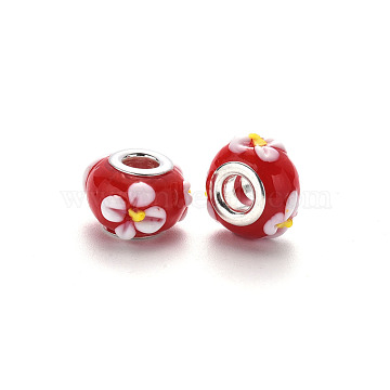 Handmade Lampwork European Beads, Large Hole Rondelle Beads, Rondelle with Flower, Bumpy Lampwork, with Platinum Tone Brass Double Cores, Red, 15~16x9~10mm, Hole: 5mm(LPDL-N001-040-B02)
