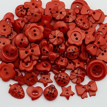 Dyed Mixed Shapes and Mixed Size Acrylic Buttons, for Art Button Craft Button Ornament, Red, 10~16x11~16x2~3mm, Hole: 2mm(BUTT-X0027)