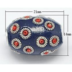 Perles Indonésiennes manuelles, avec un noyau en aluminium, ovale, midnightblue, taille: environ 21 mm de long, épaisseur de 14mm, Trou: 3mm(X-IPDL-R317-2)