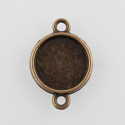 плоские круглые параметров соединителя сплав кабошон, чашки безель с краем, никель свободный, античная бронза, лоток: 12 мм; 21x15x2 мм, отверстия: 1.5 mm(X-PALLOY-N0087-04AB-NF)