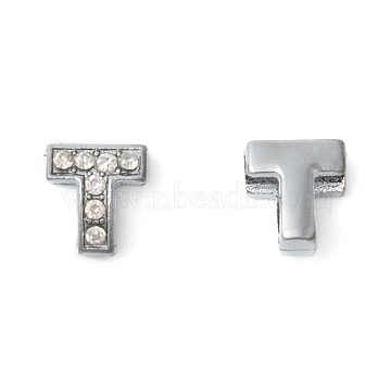 Initial Slide Beads, Alloy Rhinestone Beads, Platinum Color, Letter T, about 9mm wide, 10mm long, 6.5mm thick, hole: 3.5x7mm(X-ZP12-T)