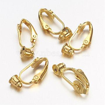 Brass Clip-on Earring Converters Findings, for Non-Pierced Ears, Gold Color, Nickel Free, about 6mm wide, 19mm long, 9mm thick, hole: 1mm(X-KK-Q115-G-NF)