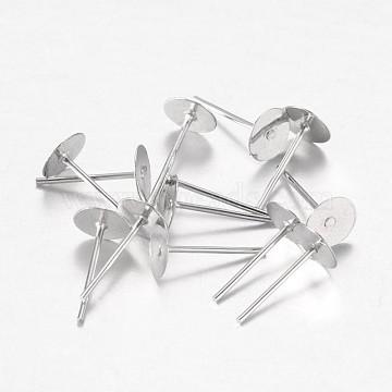 Accessoires clous d'oreilles de base plate en fer plaqué de platine, environ 6 mm de diamètre, Longueur 12mm, épaisseur de 0.8mm(X-E013)