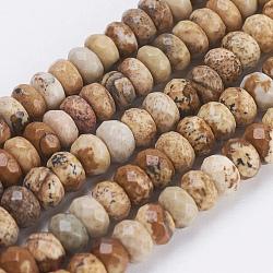 """Chapelets de perles en jaspe avec images naturelles, facette, rondelle, 4~4.5x2~2.5mm, trou: 1mm; environ 150 pcs/chapelet, 15.1""""~15.3'' (38.5~39 cm)(G-P355-05)"""