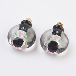 Handmade Silver Foil Lampwork Perfume Bottle Pendants, Essential Oil Bottle, Black, 34.5~35.5mm, Hole: 4.5mm; Bottle Capacity: 0.5~1ml(0.017~0.03 fl. oz)(FOIL-P001-C05)