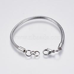 """Bricolage de bracelet chaîne serpent rond en 304 acier inoxydable, avec fermoir pince de homard, couleur inoxydable, 6-3/8"""" (16.2cm); 3mm, Trou: 4mm(STAS-I097-026-A)"""