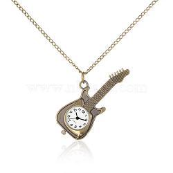 """Collier pendentif en alliage de guitare montre de poche de quartz, avec des chaînes de fer et fermoirs pince de homard, bronze antique, 31.7""""; cadran montre: 60x24x8.5 mm; boitier montre: 20.5x20.5 mm(WACH-N006-03)"""