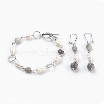 Natural Labradorite Bracelets & Earrings Jewelry Sets, with Natural Rice Pearl, Alloy Toggle Clasps and 304 Stainless Steel Findings, 7-1/2 inches(19cm), 60mm, Pin: 0.6mm(SJEW-JS00992-03)