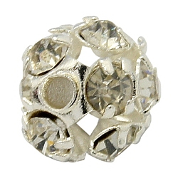 Brass Rhinestone Beads, Grade A, Round, Silver Color Plated, Clear, Size: about 6mm in diameter, hole: 1mm(X-RB-H034-4)