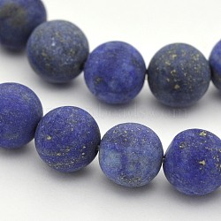 Natural Lapis Lazuli Round Beads Strands, Frosted, Dyed, 10mm, Hole: 1mm; about 38pcs/strand, 15.3