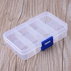 8 compartiments des récipients de stockage de billes en matière plastique, rectangle, effacer, 10.8x7x2.3 cm, trou: 6 mm(X-CON-R007-01)