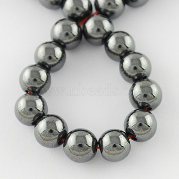 Non-Magnetic Synthetic Hematite Beads Strands, Grade A, Round, Gray, 10mm, Hole: 2mm; about 40pcs/strand, 15.5 inches(X-G-Q892-10mm)