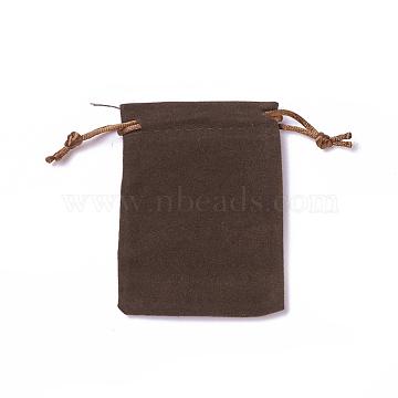 Velvet Packing Pouches, Drawstring Bags, Coffee, 9.2~9.5x7~7.2cm(TP-I002-7x9-04)