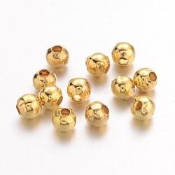 Perles séparateurs en fer, Plaqué longue durée, rond, or, 2mm, trou: 1 mm; environ 580 pcs / 10 g(X-IFIN-R237-2mm-G)