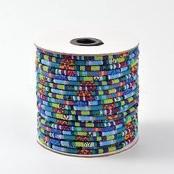 tissu de corde cordes ethniques, cornflowerblue, 4 mm; environ 50 verges / rouleau (150 pieds / rouleau)(OCOR-F003-4mm-01)