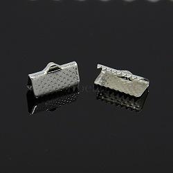 Embout ruban en fer, argenterie, 7x13mm, Trou: 2mm(E005Y-S)