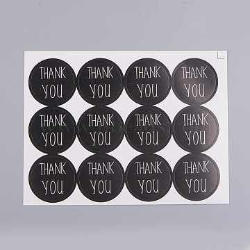 Self-Adhesive Kraft Paper Gift Tag Stickers, for Presents, Packaging Bags, Thank You Theme, Black, Sticker: 30mm; 1 Sticker/pc(DIY-D028-01B-02)