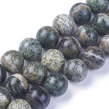 Natural Green Zebra Jasper Beads Strands, Round, 10.5~11mm, Hole: 1.2mm; about 37~38pcs/strand, 15.1~15.5inches(38.5~39.5cm)(G-F642-08-B)